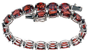 【送料無料】ブレスレット アクセサリ― スターリングシルバーガーネットテニスブレスレットsterling silver 24 ct wt red garnet tennis bracelet 634 long