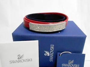 【送料無料】ブレスレット アクセサリ― スワロフスキーブレスレットクリスタルswarovski vio leather bracelet, red leather, crystal authentic mib 5120644