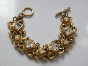 【送料無料】ブレスレット アクセサリ― ヴィンテージフランスパリゴールドラインストーンブレスレットvintage french couture signed guy laroche paris gold rhinestone bracelet, ls877