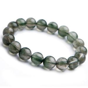 【送料無料】ブレスレット アクセサリ― グリーンルチルビーズブレスレット listingnatural green rutilated quartz crystal cat eye woman beads bracelet 11mm aaaa