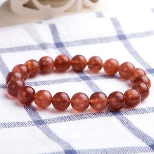 【送料無料】ブレスレット アクセサリ― ゴールドストロベリークォーツゴールドビーズブレスレットクリア listing9mm natural gold strawberry quartz gold suntone clear beads bracelet aaa