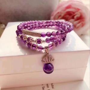 【送料無料】ブレスレット アクセサリ― パープルクリスタルビーズブレスレットgenuine natural ametrine purple crystal beads bracelet fine silver 6mm