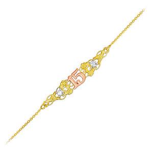 【送料無料】ブレスレット アクセサリ― ゴールドブレスレット15 aos quinceaera filigree 14k tritone gold cz bracelet