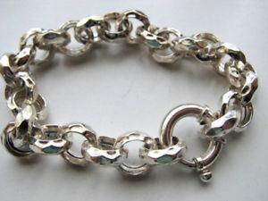 【送料無料】ブレスレット アクセサリ― クラスプリンクブレスレットインチ12mm sterling silver hammered rolo link charm bracelet with large clasp, 8 inch