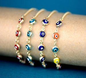 【送料無料】ブレスレット アクセサリ― 14kイエローホワイトゴールドブレスレット14k yellow or white gold evil eye bracelet