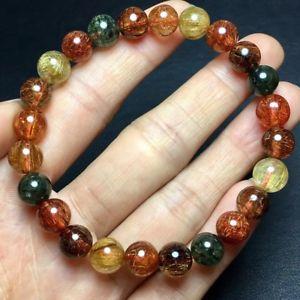 【送料無料】ブレスレット アクセサリ― チタンルチルラウンドビーズブレスレット8mm natural colorf titanium rutilated quartz crystal round beads bracelet