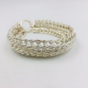 【送料無料】ブレスレット アクセサリ― スターリングシルバーワイドリンクブレスレットchunky sterling silver wide link bracelet