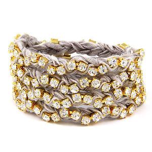 【送料無料】ブレスレット アクセサリ― セールグレーリボンゴールドメッキラインストーンラップブレスレット¥ettika grey braided ribbon gold plated rhinestone wrap bracelet rrp 85