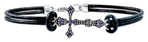 【送料無料】ブレスレット アクセサリ― ビーズクロスレザーブレスレットharleydavidson womens beaded cross leather bracelet w purple stones hdb0358