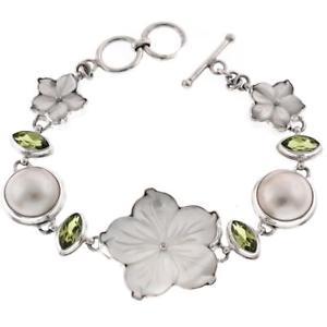 【送料無料】ブレスレット アクセサリ― パールフラワーペリドットマベスターリングシルバーブレスレット listingadorable mother of pearl flower peridot mabe pearl 925 sterling silver bracelet