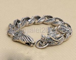 【送料無料】ブレスレット アクセサリ― スターリングシルバーブレスレットバイカードラゴンジュエリーチェーン925 sterling silver bracelets biker dragon jewelry men chain