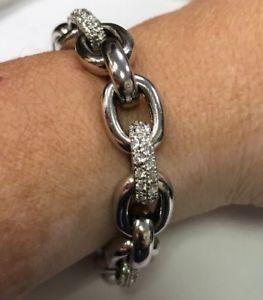 【送料無料】ブレスレット アクセサリ― スターリングシルバーリンクブレスレットstunning sterling silver 925 heavy link cz statement bracelet 9