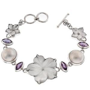 【送料無料】ブレスレット アクセサリ― パールフラワーアメジストマベスターリングシルバーブレスレット listingadorable mother of pearl flower amethyst mabe pearl 925 sterling silver bracelet