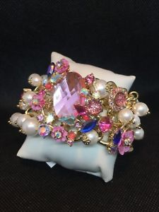 【送料無料】ブレスレット アクセサリ― ジョンソンピンククリスタルパールワイドフレックスブレスレットドルbetsey johnson goldtone pink crystal amp; pearl wide flex bracelet nwt 145 lk