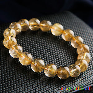 【送料無料】ブレスレット アクセサリ― ルチルブレスレット11mmaaanatural gold rutilated quartz gems round beads wealthy bracelet 11mm aaa