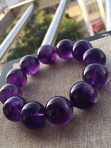 【送料無料】ブレスレット アクセサリ― アメジストラウンドビーズブレスレットウルグアイ19mm old material 100 natural amethyst gemstone round beads bracelet uruguay