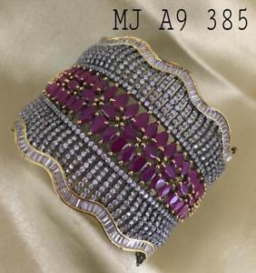 【送料無料】ブレスレット アクセサリ― ハンドメイドデザイナーウェディングカフブレスレットhandmade high quality cz red stone artificial designer wedding cuff bracelet zd8
