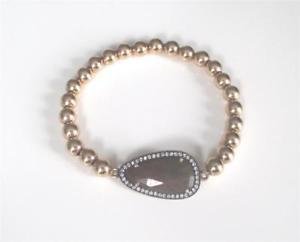 【送料無料】ブレスレット アクセサリ― サファイアczブレスレットbrown sapphire pave cz gold filled bead stretch bracelet gemstone