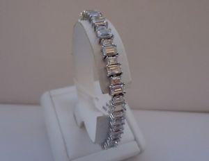 【送料無料】ブレスレット アクセサリ― スターリングシルバーバゲットテニスブレスレット925 sterling silver womens tennis bracelet with40 cts baguette