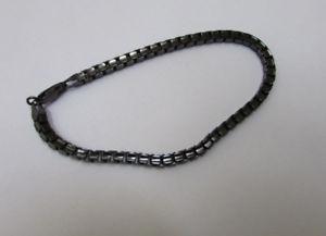 【送料無料】ブレスレット アクセサリ― mensブレスレットブラックスターリング925ルテニウム4mmチェーンジュエリー