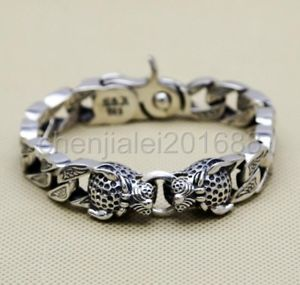 【送料無料】ブレスレット アクセサリ― 925レオパルドmensパンクリンクブレスレット925 sterling silver leopard head mens biker punk curb link bracelet