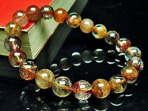 【送料無料】ブレスレット アクセサリ― ブレスレットgift bl18879mm3aルチル9mm rare 3a natural golden flower rutilated quartz round bracelet gift bl1887
