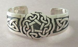 【送料無料】ブレスレット アクセサリ― スターリングシルバーカフブレスレットセルティックノットデザインワイド925 sterling silver cuff bracelet celtic knot design 1 14 wide