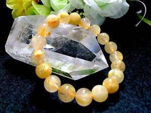 【送料無料】ブレスレット アクセサリ― ブレスレットgift bl879210mm4atitinルチル10mm rare 4a natural titin golden rutilated quartz round bracelet gift bl8792