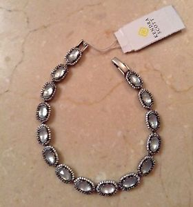 【送料無料】ブレスレット アクセサリ― スコットアンティークシルバードルブレスレットnwt kendra scott cole wedding bracelet in antique silver~pearls~crystals~250