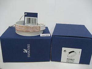 【送料無料】ブレスレット アクセサリ― スワロフスキーvioブレスレットクリスタルmib 5134617swarovski vio white leather bracelet, leathercrystal authentic mib 5134617