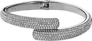 【送料無料】ブレスレット アクセサリ― ミハエルシルバートーンクリスタルバイパスカフブレスレットポーチmichael kors mkj3668 silver tone pave crystal bypass cuff bracelet pouch