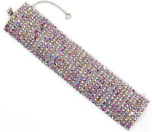 【送料無料】ブレスレット アクセサリ― オーロリスタルラインストーンシルバーブレスレットred iridescent aurora borealis crystal rhinestone silver vtg statement bracelet