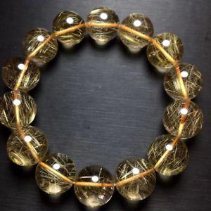 【送料無料】ブレスレット アクセサリ― ルチルヒーリングビーズブレスレットaaaa16mm natural gold rutilated quartz crystal healing beads bracelet