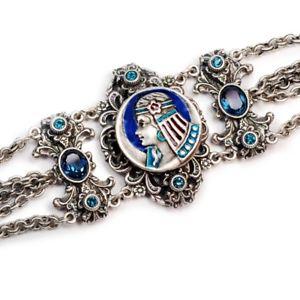 【送料無料】ブレスレット アクセサリ― ロマンスアールデコエジプトビンテージシルバーブレスレットsweet romance art deco egyptian goddess vintage silver bracelet free shipping