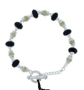 【送料無料】ブレスレット アクセサリ― ロレンツォスターリングシルバーオニキスビーズバーブレスレットlorenzo lzb091nx womens sterling silver 18k onyx bead tbar bracelet