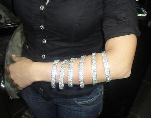 【送料無料】ブレスレット アクセサリ― スパイラルブレスレットスレーブワイヤspiral bracelet slave 3 wire rhinestones swarovsky 6 laps rhinestones