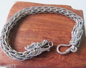 【送料無料】ブレスレット アクセサリ― クラシックシルバーブレスレットドラゴンヘッドチェーンリンク classic s925 silver bracelet unique chain link with bless dragon head 77l