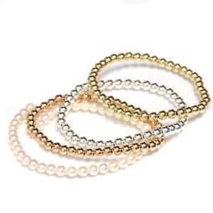 【送料無料】ブレスレット アクセサリ― ビーズブレスレットゴールドストレッチローズホワイトパールbeaded stretch bracelet gold filled yellow, rose, white and pearl