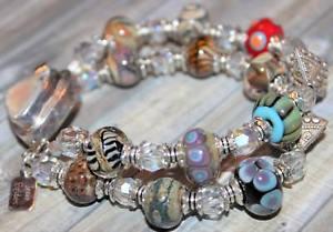 【送料無料】ブレスレット アクセサリ― 2ブレスレットlampworkスターリングj09two strand bracelet artisan lampwork sterling silver box clasp j09