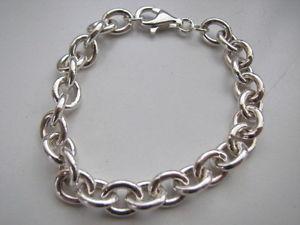 【送料無料】ブレスレット アクセサリ― スターリングリンクブレスレット9x7mmイタリア925リンクsterling silver oval link charm bracelet 9x7mm links solid 925 made in italy