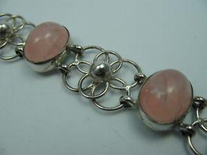 【送料無料】ブレスレット アクセサリ― ヴィンテージローズクォーツデザイナーシルバーブレスレットhand made very beautiful vintage rose quartz designer 925 silver bracelet