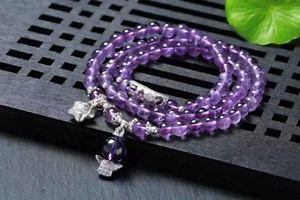 【送料無料】ブレスレット アクセサリ― 3rowsaaaウルグアイアメジストブレスレット6mms9253rows aaa natural uruguay amethyst purple bracelet 6mm s925 silver