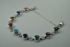 【送料無料】ブレスレット アクセサリ― スターリングシルバーラウンドリンクブレスレット925 sterling silver assorted stones round link bracelet women jewelry