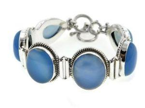 【送料無料】ブレスレット アクセサリ― ブレスレットsterling silver large blue chalcedony gemstone bracelet