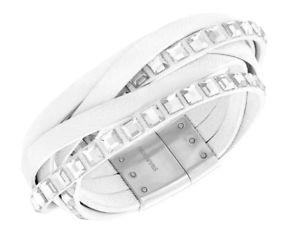 【送料無料】ブレスレット アクセサリ― スワロフスキーセレブレザーブレスレットホワイトクリスタルswarovski celeb leather bracelet white, crystal authentic mib 5134623