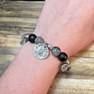 【送料無料】ブレスレット アクセサリ― ストレッチブレスレットnwt tat2 silver menander labrodite amp; onxy stretch bracelet w orig pkging b304
