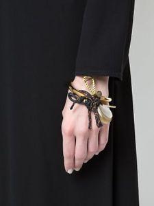【送料無料】ブレスレット アクセサリ― イタリアホーンコードブレスレット marni italy goldtone horn and toggle cord statement bracelet