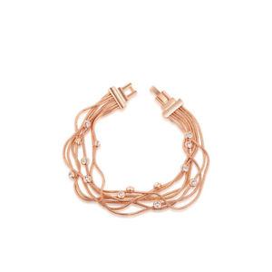 【送料無料】ブレスレット アクセサリ― マルチチェーンベゼルステーションブレスレットローズセットmulti chain cz bezel set station bracelet rose vermeil 180 cm