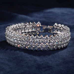 【送料無料】ブレスレット アクセサリ― kホワイトゴールドワイドブレスレットスワロフスキークリスタルプリンセス14k white gold gf wide bracelet made w swarovski crystal princess stone bridal