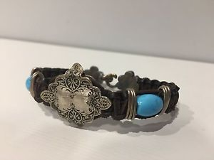 【送料無料】ブレスレット アクセサリ― ブラウンレザーストラップシルバーターコイズレザーシルバーブレスレットbrown leather strap, silver amp; turquoiseleather amp; silver bracelet